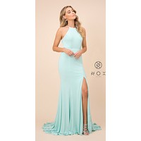Mint Floor Length Prom Dress Cut Out Back with Slit