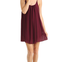 SCOOP NECK CHIFFON SLIP DRESS - BURGUNDY
