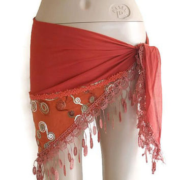 Copper Women Sarong, scarf for women, triangle Sarong Pareo, embroidered scarf, Beach cover, bikini skirt, Beach Accessory, women gift