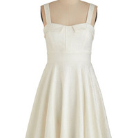 ModCloth Vintage Inspired Sleeveless A-line Pull Up A Cherry Dress in Cream