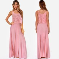 Spaghetti Strap Lace Pleated Long Party Dress