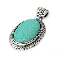 Greek Inspired Ellipse Shape Pendant w/ Turquoise Stone Color: Turquoise