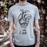 anatomical heart / hot air balloon T shirt for men