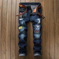 Ripped Holes Style Stylish Pants Men Blue Jeans [10766089027]