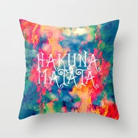 Hakuna Matata Painted Clouds Throw Pillow by Caleb Troy