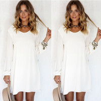 Summer Women's Fashion White Round-neck Lace One Piece Dress [6343461249]
