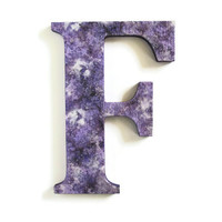 Decorative Wall Letter F textured purple amethyst wall letter with metallic silver and pearl, 10 inch, ready to ship