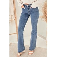 On Your Own Mid Rise Flare Jeans (Medium)