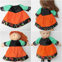 """Cabbage Patch 16"""" KIDS or Bitty Baby 15"""" doll or 18"""" clothes,  orange black green halloween dress, adorabledolldesigns handmade"""