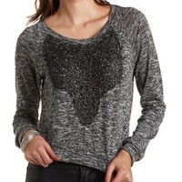 Charcoal Sparkly Crocheted Marled Sweatshirt by Charlotte Russe