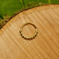 Brass Indian septum ring 1.2mm 16g, gold tribal nose ring tragus earring hoop wire pierced nose