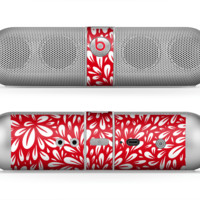The Red Vector Floral Sprout Skin for the Beats by Dre Pill Bluetooth Speaker