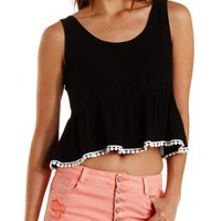 Black Pom-Pom Trim Babydoll Tank Top by Charlotte Russe