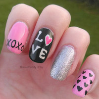 Pink Black And Silver Valentines Day Nail Art, Fake, Acrylic, False, Press On Hand Painted Nail Set