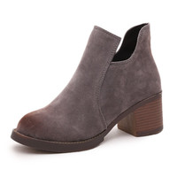 Cut-out Ankle Soft Leather Booties