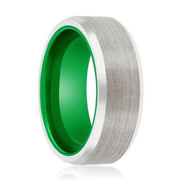FROGGER Tungsten Silver Beveled and Green Inside Aluminum Ring