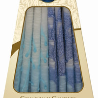 """Lamp Lighters Ultimate Judaica Safed Chanukah Candles - 45 Pack - Blue/Turquoise/White - 6"""""""