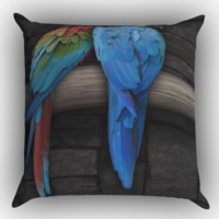 Cute Couple of Birds Parrot Pair Couple Animal Bird Zippered Pillows  Covers 16x16, 18x18, 20x20 Inches
