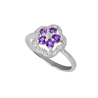 Sterling Silver .05ct Genuine Diamond Ring Flower with Amethyst
