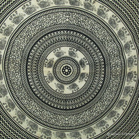 Black Elephant Mandala Indian Tapestry Throw Wall Hanging Dorm Room Bedspread Decor