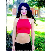 Red Halter Crop Top Cropped Tank Top / Made in USA