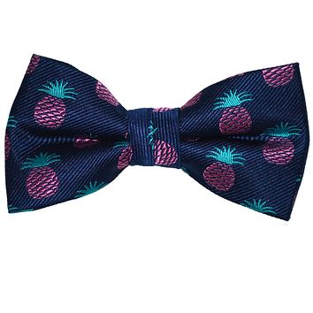 Pineapple Bow Tie - Navy, Woven Silk, Pre-Tied for Kids