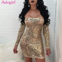 Adogirl Fashion Sexy Sheer Mesh Sequins Off Shoulder Club Dresses Slash Neck Long Sleeve Bodycon Dresses Mini Party Vestidos