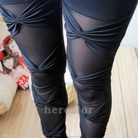 Sexy Ripped Sexy Stretch Vintage Legging Pants Black Leggings