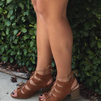 Lovely & Laced Up Wedges - Brown