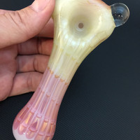 Sale White Glass Silver and Gold Fumed Pink Spun Wrap and Rake Tobacco Spoon Pipe