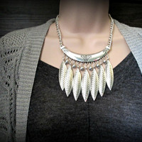 Bohemian jewelry,miao silver jewelry,leaf necklace, gypsy necklace,gold coin necklace-ethnic necklace-tribal necklace
