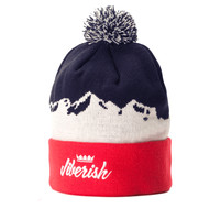 Mountain Script Beanie Navy/Red