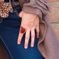 """Silver ring with amber """"Fight"""" 