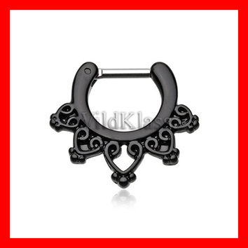 16g 14g Black Septum Clicker Colorline Royal Bliss Filigree Septum Ring Earring Cartilage Piercing Tragus Ring Helix Conch Nose Belly Nipple
