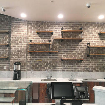 Wall Mounted Industrial Pipe Media Shelving - Industrial furniture Media shelf - Shelving unit - Urban media shelving - Industrial Modern