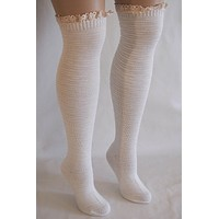 Cream Knit Over Knee Long Thigh High Socks With Cuff