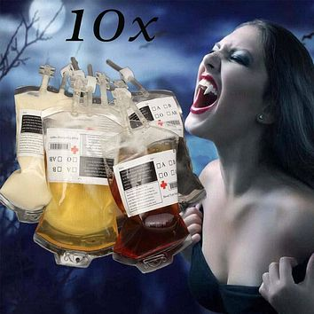 10pcs Reusable Blood Energy Drink PA Bag Halloween Pouch Props Vampire Cosplay