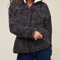 Final Sale - Two Tone Sherpa Half-Zip Pullover - Charcoal