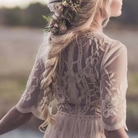 Tainted Rose Lace Maxi Dress in Sand