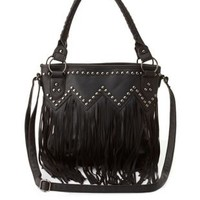 Studded Fringe Cross-Body Tote by Charlotte Russe - Black