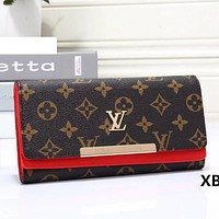 Louis Vuitton LV Women Leather Multicolor Buckle Wallet Purse Bag