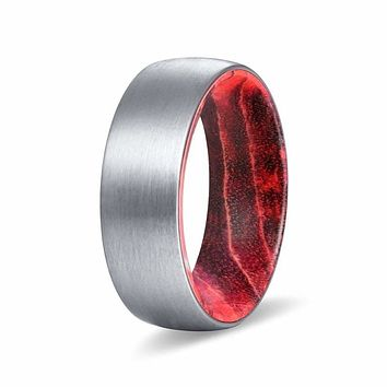 DALLAS Domed Men's Tungsten Ring with Black/Red Box Elder Wood Sleeve 8mm
