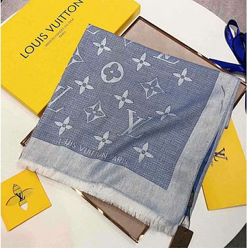 """Bunchsun Hot Sale """"Louis Vuitton"""" LV Stylish Women Monogram Smooth Silk Cashmere Scarf Scarves Sunscreen Cape Accessories Blue I-TMWJ-XDH"""