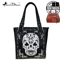 Embroidered Sugar Skull Conceal & Carry Purse