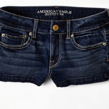 AEO 's Denim Shortie (Dark Clean Indigo)
