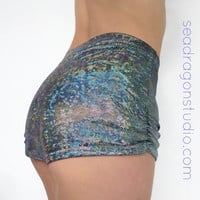 High Waisted Holographic 'Roller Girl' Booty Shorts -12 colors- Burning Man, Festivals, Hoop, Aerial, EDM, Rave, Performance