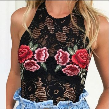 MDIGCY2 Hot summer new embroidery flower bud silk neck backless romper jumpsuits