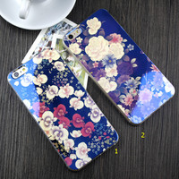 Shining Floral Rubber creative case for iPhone 5s 6 6s Plus Gift-84