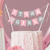 It's A Girl Baby Shower Bunting Cake Topper