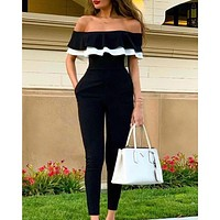Summer new sexy strapless slim short-sleeved ruffle jumpsuit
